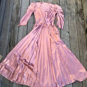 Vintage 80's-does-30's satin rose gold maxi dress